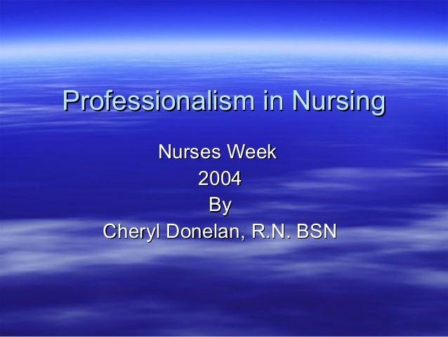 Profesionalismo en enfermeria