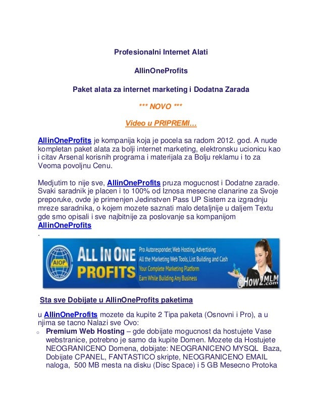 Profesionalni Internet Alati                             AllinOneProfits          Paket alata za internet marketing i Doda...