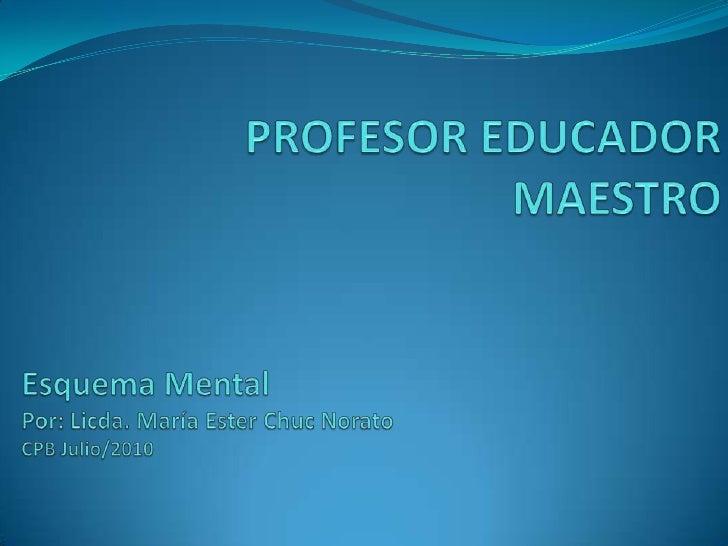 PROFESOR EDUCADOR MAESTRO<br />Esquema Mental <br />Por: Licda. María Ester Chuc Norato<br />CPB Julio/2010<br />