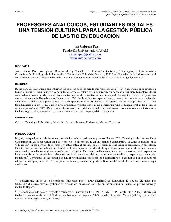 Cabrera                                                           Profesores Analógicos, Estudiantes Digitales: una tensió...