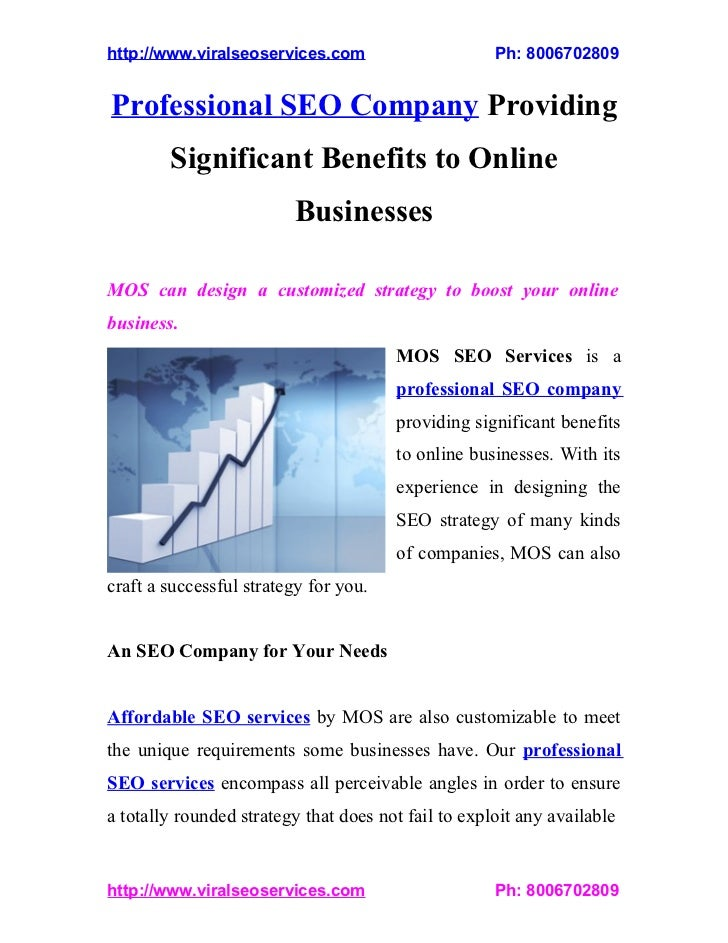 Professional SEO Company Providing Significant Benefits to Online Businesses