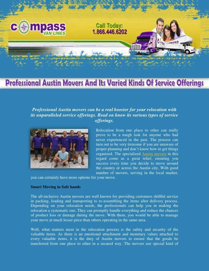 Professional Austin Movers And Its Varied Kinds Of Service Offerings