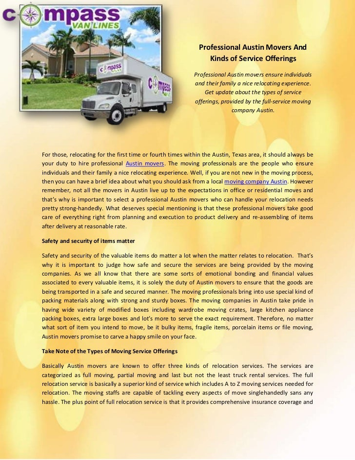 Professional Austin Movers And Kinds of Service Offerings