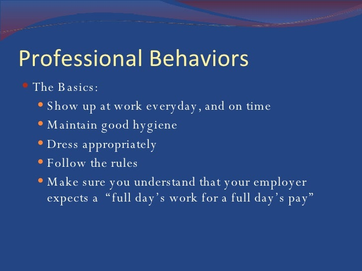 professionalism behaviors