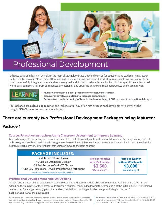 There are currenty two Professional Devleopment Packages being featured: Package 1
