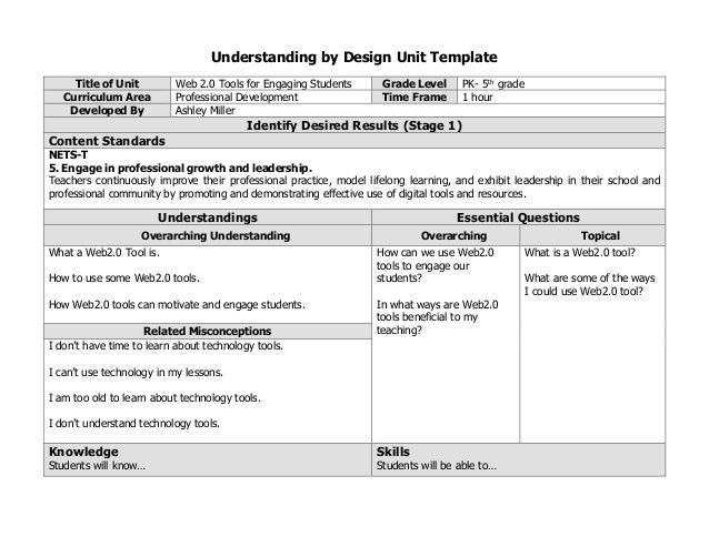 Professional development lesson plan - Understanding by design math unit plans ...