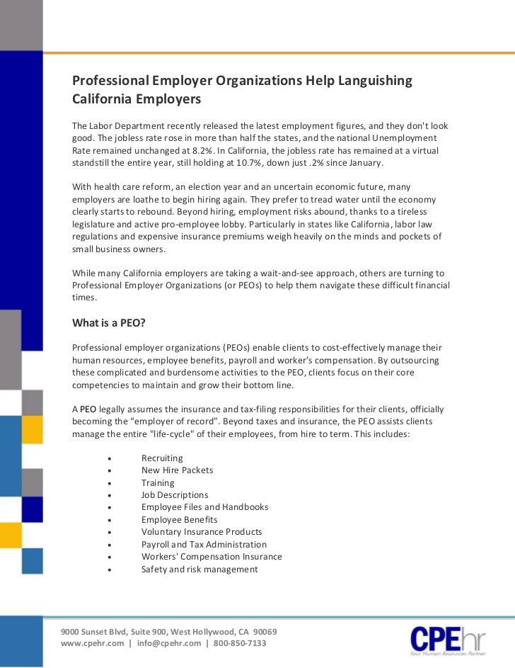 [Type text]                Professional Employer Organizations Help Languishing                California Employers       ...