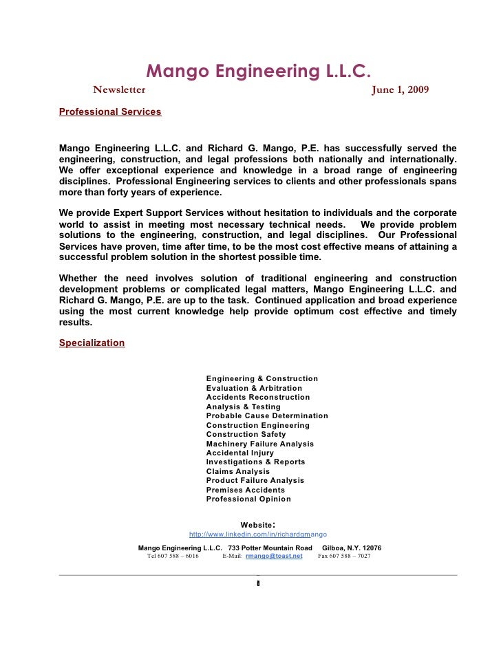 Mango Engineering L.L.C.        Newsletter                                                                           June ...