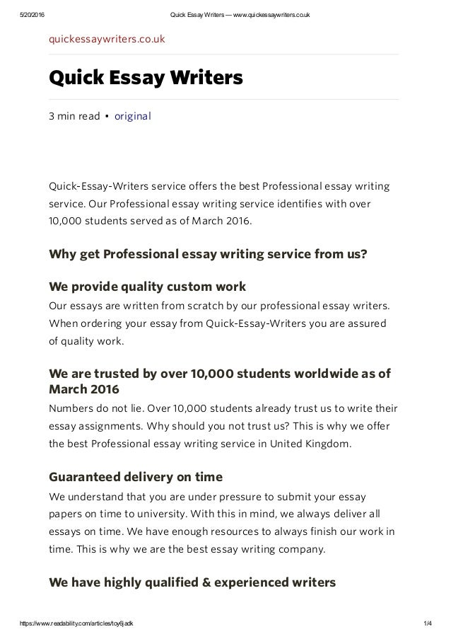 Online essay writing service quickly