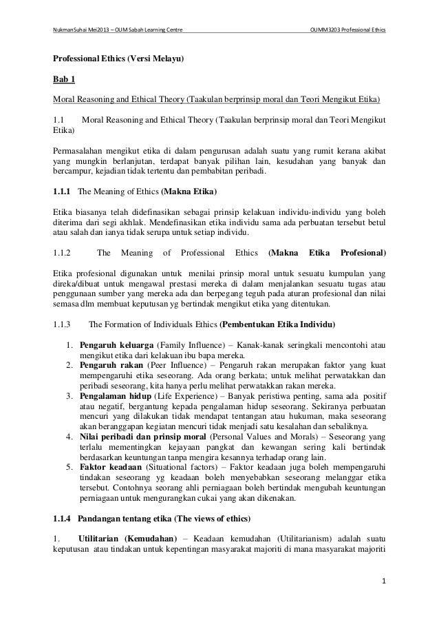 NukmanSuhai Mei2013 – OUM Sabah Learning Centre OUMM3203 Professional Ethics 1 Professional Ethics (Versi Melayu) Bab 1 Mo...