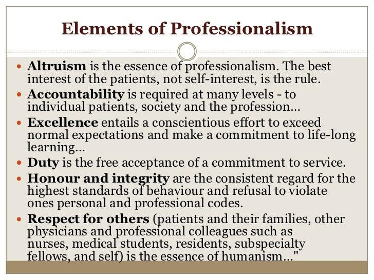 Professionalism in medicine essay