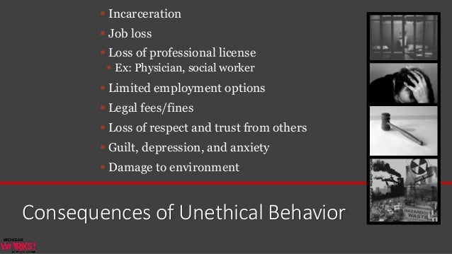 punishment of unethical behavior Price to punish unethical companies more than they use price to reward ethical  companies, and that the ethicalness of a company's behavior is, indeed, an.
