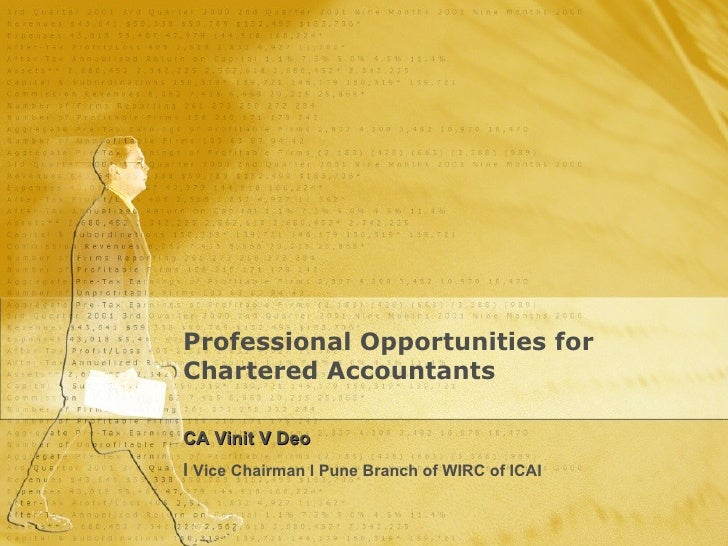 Professional Opportunities for Chartered Accountants CA Vinit V Deo  l   Vice Chairman l Pune Branch of WIRC of ICAI