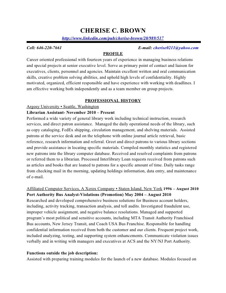 professional profile template cherise brown section a professional ...