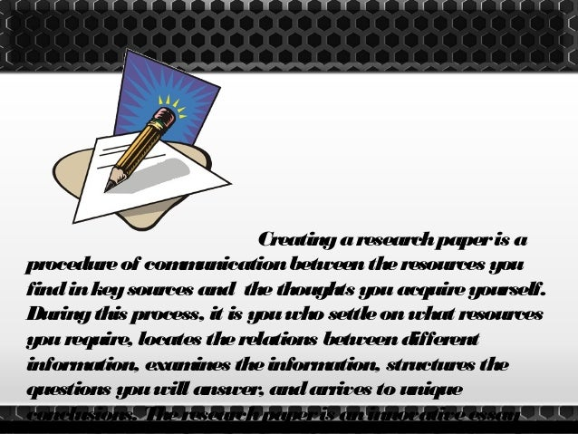 Elements of research paper writing