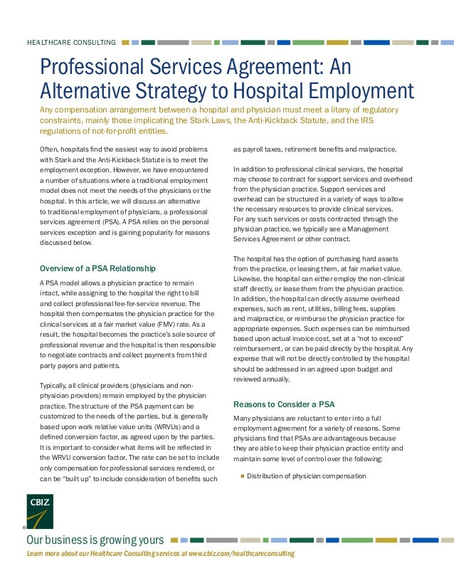 Professional Services Agreement An Alternative Strategy