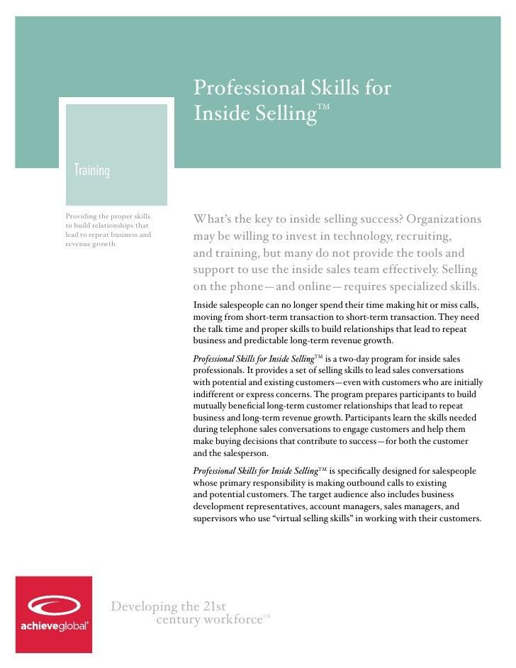 Professional Skills for                              Inside Selling                    TM  TrainingProviding the proper sk...