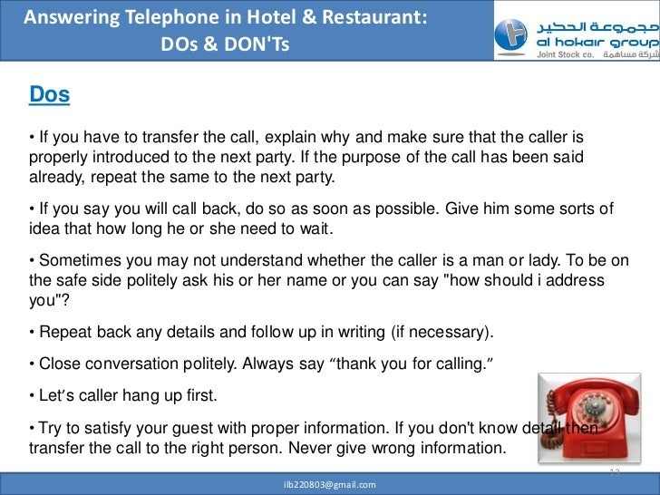 on not answering a telephone