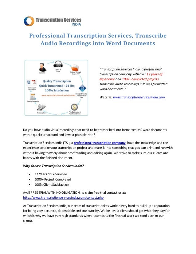 services single speaker transcription