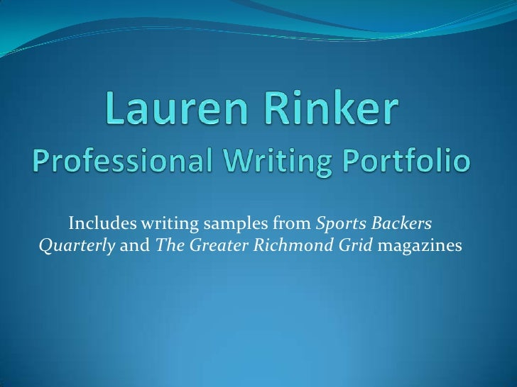 Lauren Rinker Professional Writing Portfolio<br />Includes writing samples from Sports Backers Quarterly and The Greater R...