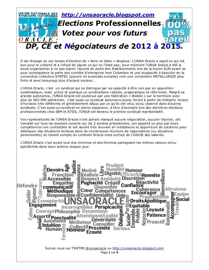 http://unsaoracle.blogspot.com                       Elections Professionnelles                        Votez pour vos futu...