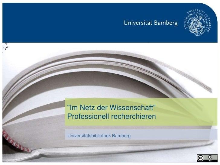 """""""Im Netz der Wissenschaft""""                                 Professionell recherchieren                                 Uni..."""