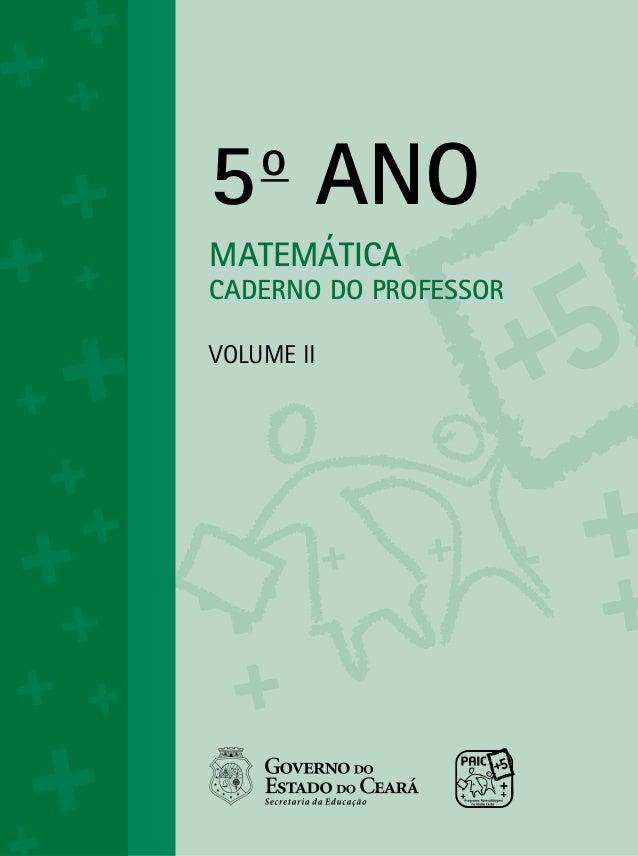 5oANOMATEMÁTICACADERNO DO PROFESSORVolume ii