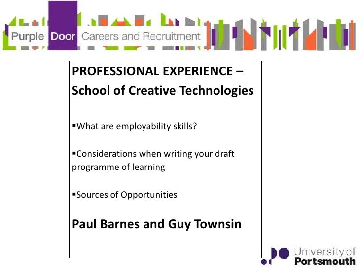 PROFESSIONAL EXPERIENCE –School of Creative TechnologiesWhat are employability skills?Considerations when writing your d...