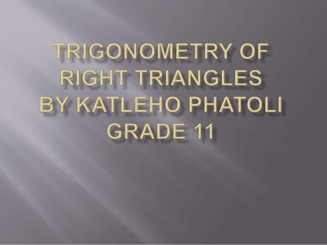 TRIGONOMETRIC RATIOS  Consider a right triangle with  as one of its acute angles. The trigonometric ratios are defined as...