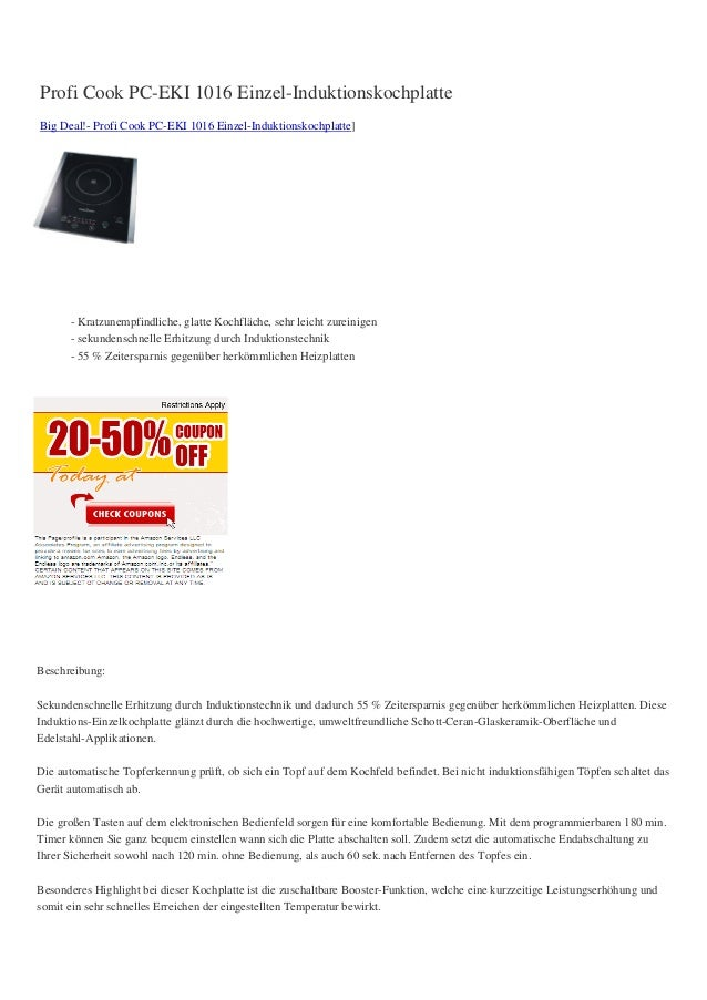 Profi Cook PC-EKI 1016 Einzel-InduktionskochplatteBig Deal!- Profi Cook PC-EKI 1016 Einzel-Induktionskochplatte]- Kratzune...