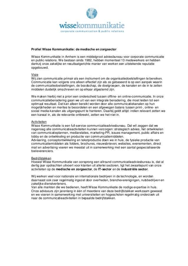 Profiel wisse kommunikatie medisch en zorg