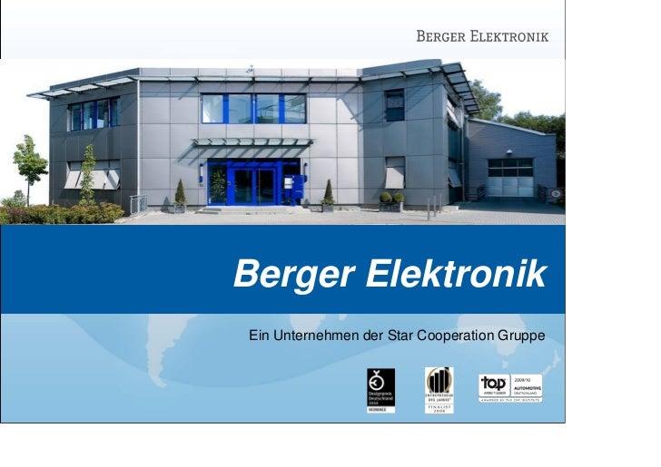 Berger ElektronikEin Unternehmen der Star Cooperation Gruppe