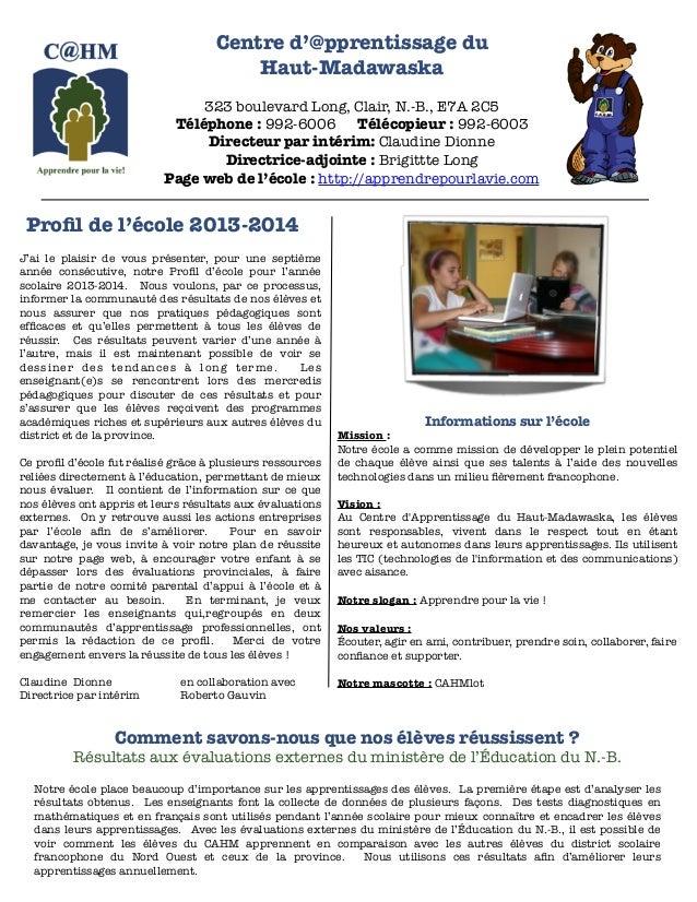 Profil de l'école 2013 2014
