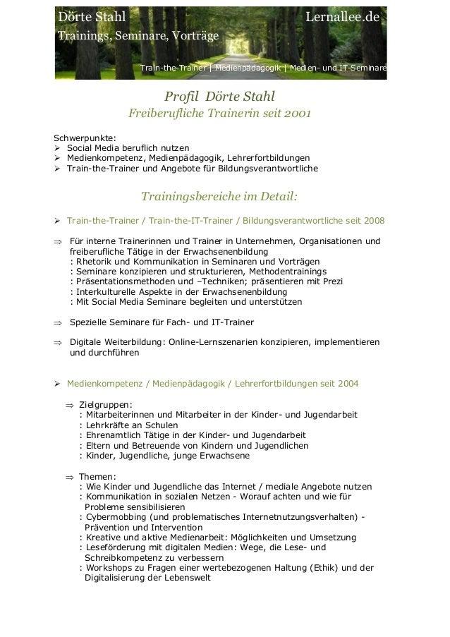 Dörte Stahl Trainings, Seminare, Vorträge Train-the-Trainer | Medienpädagogik | Medien- und IT-Seminare Lernallee.de Profi...