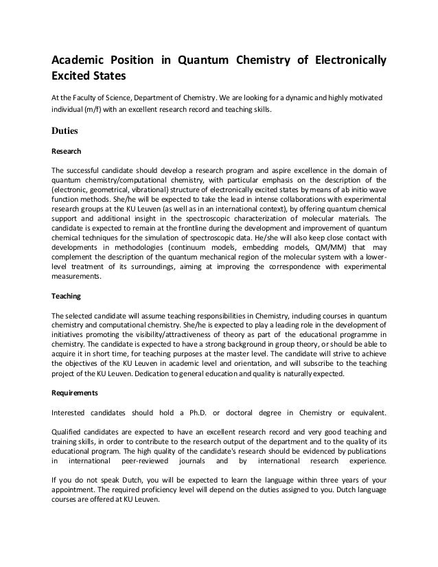 Academic Position in Quantum Chemistry of ElectronicallyExcited StatesAt the Faculty of Science, Department of Chemistry. ...