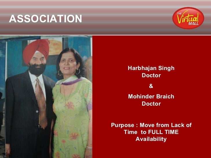ASSOCIATION Harbhajan Singh Doctor & Mohinder Braich Doctor Purpose : Move from Lack of Time  to FULL TIME Availability