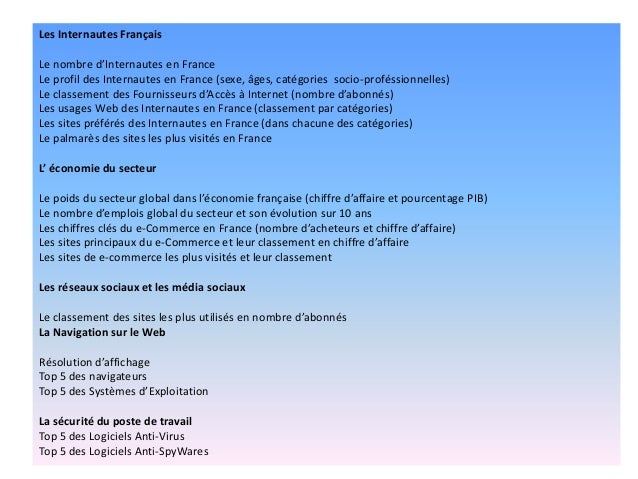 Les Internautes Français Le nombre d'Internautes en France Le profil des Internautes en France (sexe, âges, catégories soc...
