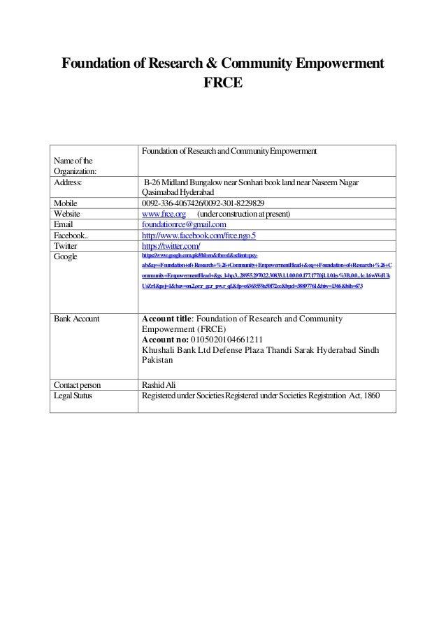 Profile of frce ngo