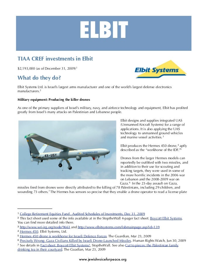 ELBIT TIAA CREF investments in Elbit $2,193,000 (as of December 31, 2009)1  What do they do? Elbit Systems Ltd. is Israel'...