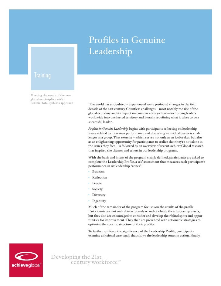 Profiles in Genuine                                   Leadership  TrainingMeeting the needs of the newglobal marketplace w...