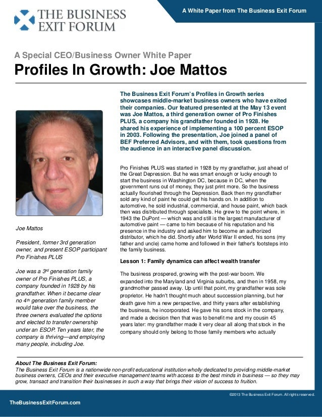 Profiles in Growth - A Whitepaper from The Business Exit Forum