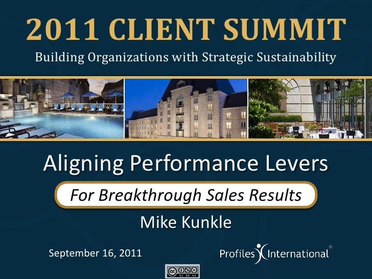 2011 CLIENT SUMMITBuilding Organizations with Strategic Sustainability Aligning Performance Levers      For Breakthrough S...