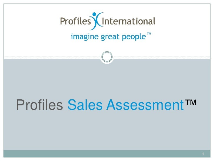 Profiles Sales Assessment™                             1