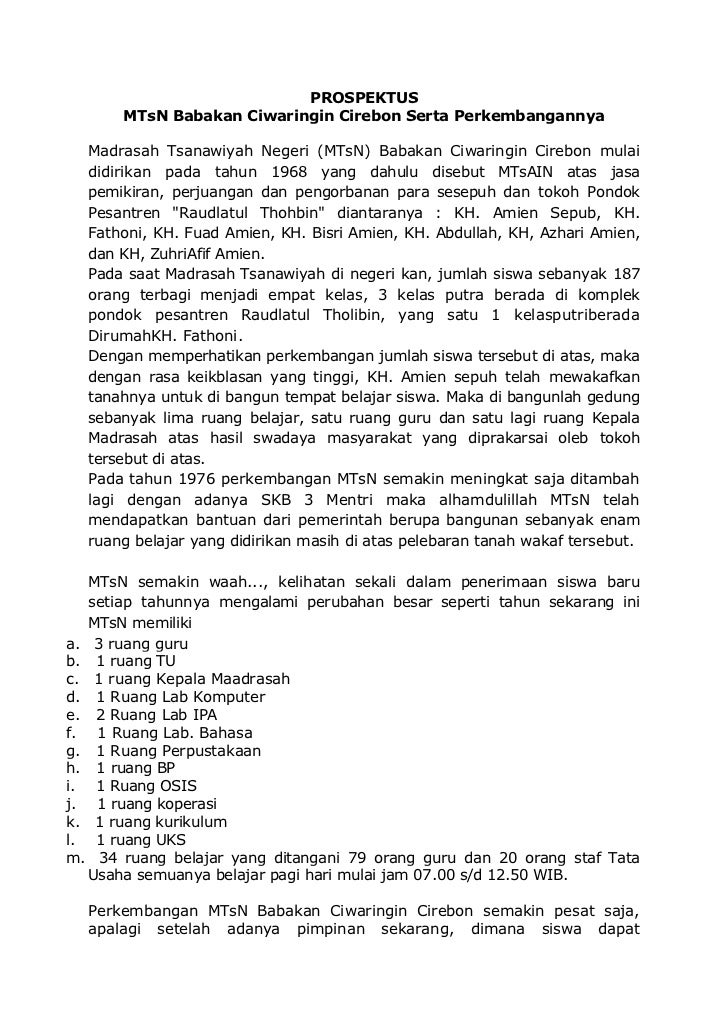 PROSPEKTUS       MTsN Babakan Ciwaringin Cirebon Serta Perkembangannya  Madrasah Tsanawiyah Negeri (MTsN) Babakan Ciwaring...