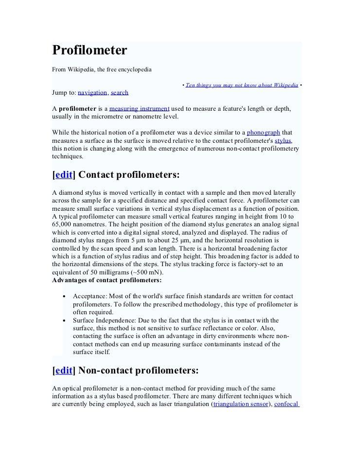ProfilometerFrom Wikipedia, the free encyclopedia                                               • Ten things you may not k...