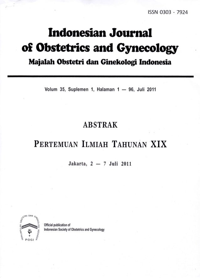 rssN 0303 - 7924    Indonesian Jourralof Obstetrics and Gyneeology        Maiatah Obstetri dan Ginekologi Indonesia       ...