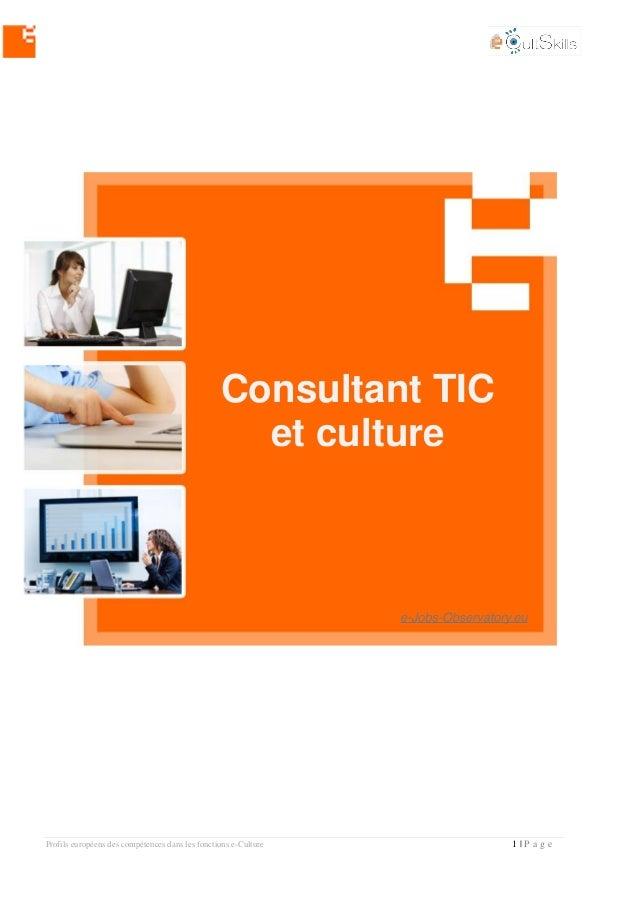 Profils européens des compétences dans les fonctions e-Culture 1 | P a g e Consultant TIC et culture