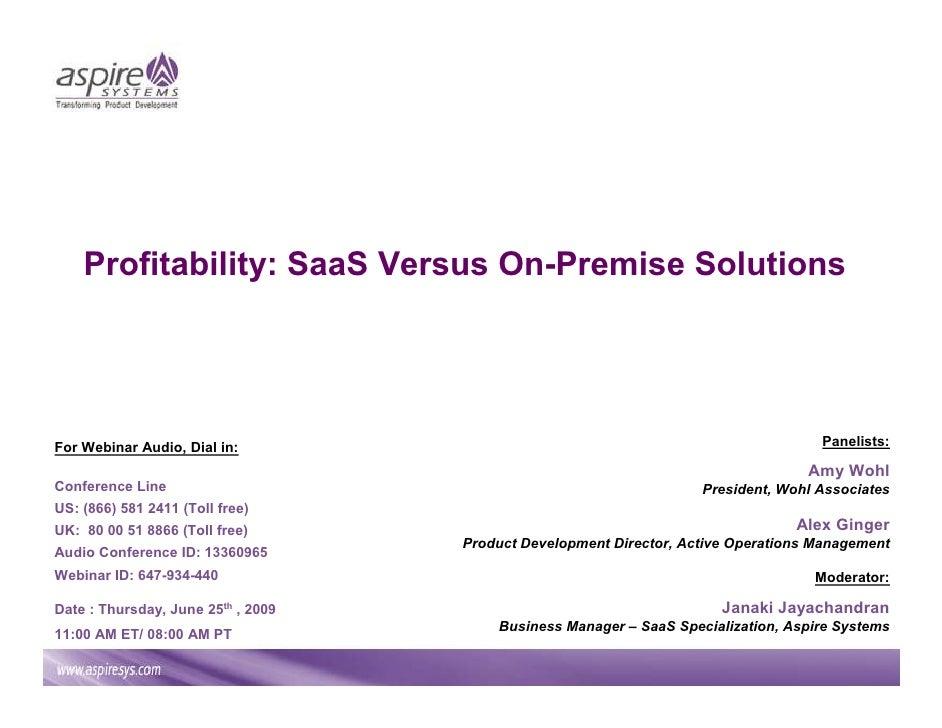 Profitability: SaaS Versus On Premise Solutions