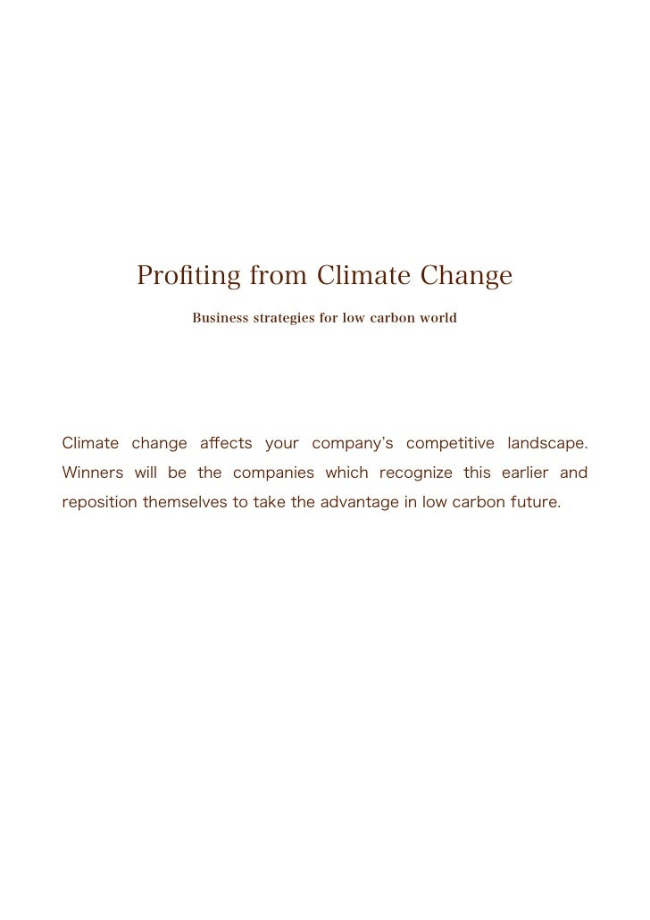 Profiting from climate change