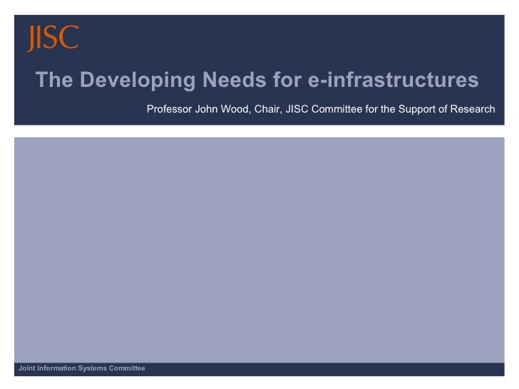 The Developing Needs for e-infrastructures Professor John Wood, Chair, JISC Committee for the Support of Research